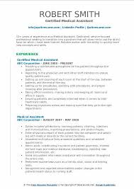 Example Of Medical Assistant Resume Medical Assistant Resume Samples Qwikresume
