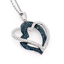 10k gold womens white blue diamond heart pendant 0 6ct white image
