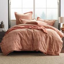 the company ankara textured terracotta queen duvet cover 50252d q terracotta the home depot