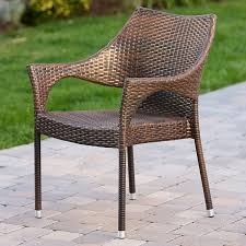 Amazon Del Mar Outdoor Brown Wicker Stacking Chairs Set of 2