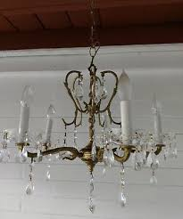 ornate vintage 30s spanish 5 arm solid brass chandelier lots of crystals