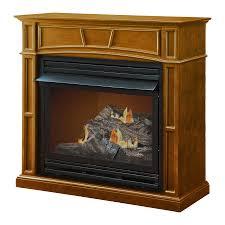 pleasant hearth 45 875 in dual burner vent free heritage flat wall liquid propane