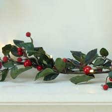pre lit 6ft red berry garland