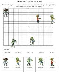 graphing linear equations on a cartesian plane to kill zombies great for year 8 or