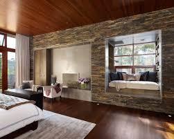 modern stone wall design bedroom
