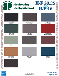 Ideal Roofing Americana Color Chart Standing Seam Color Chart Heritage Series Hf