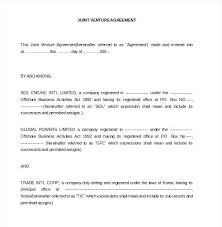 Joint Venture Agreements Document Free Download Partnership ...