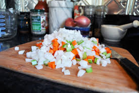 Mirepoix (pronounced meer/pwah), is a combination of celery, carrots, and onion that is used to flavor stocks, sauces, soups, roasts, and other dishes. How To Make Mirepoix This Diced Vegetable Mixture Will Be Your Mealtime Hero Cool Mom Eats