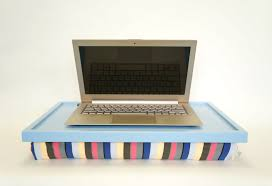 laptop lap desk or breakfast serving tray light blue with multicolor lycra pillow