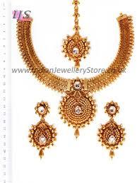 gold white banjaran necklace set newa10748