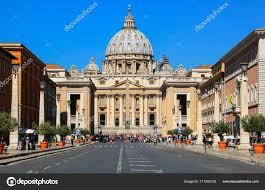 Vue De Basilique Cité Du Vatican Rome Italie Saint Pierre