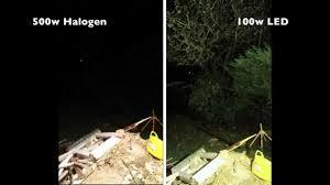 review 100w led flood light test vs 500w halogen flood light