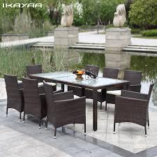 iKayaa US Stock 9PCS Rattan Outdoor Dinning Table Chair Set Cushioned Garden Patio Furniture Set mobili 640x640