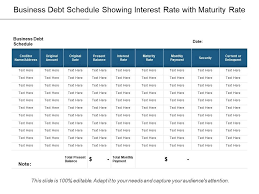 Business Schedule Template Business Debt Schedule Showing Interest Rate With Maturity