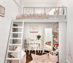 Small and stylish kids' loft bedroom and homework zone underneath [Design:  Shana Dee Nursery Dcor]