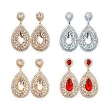 rhinestone teardrop chandelier earrings