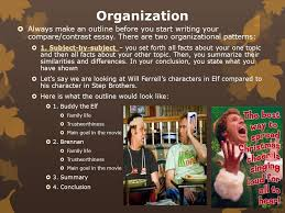 compare contrast unit english ii ms petrauskas fall ppt  organization  always make an outline before you start writing your compare contrast essay