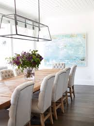 Long Kitchen Light Fixtures Beachy Dining Room Beadboard Ceiling Linear Dining Room Light