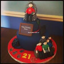 21st Birthday Cake With The Birthday Boy Siting On The Iron Throne