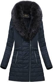 coat with fur collar navy blue ld5520