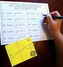 my 8th grade math algebra 1 students loved this slope intercept form task card activity