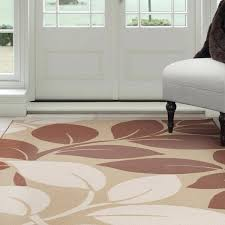 home large leaves area rug brown amp rugs