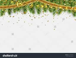 Holiday Branches With Lights Christmas Border Fir Branches String Lights Stock Vector