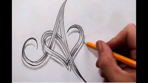 A Design Initial A And Heart Combined Together Celtic Weave Style Letter Tattoo Design