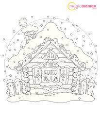 La Maison Enneig E En Coloriage De No L Imprimer Magicmaman Com