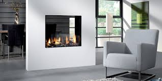 modern gas fireplace see through fireplace