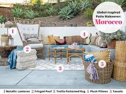 moroccan garden furniture. 3 Global Inspired Outdoor Makeovers You Can Copy Hgtvs Moroccan Garden Furniture