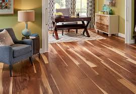a walnut engineered wood floor in a living room