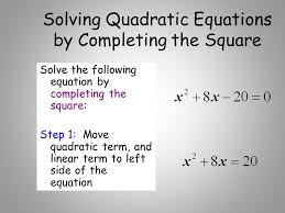 83 solving quadratic equations by completing