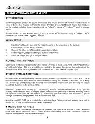Alesis Dm5 Sound Chart Alesis Surge Cymbal Compatibility Guide Manualzz Com