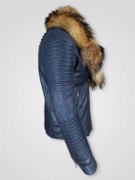 rac fur collar pure leather jacket for men back side view wine