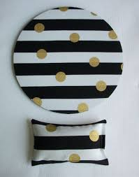 metallic gold desk set mouse pad and wrist rest black and white stripes with metallic gold dots mousepad set coworker gift desk cubical accessories