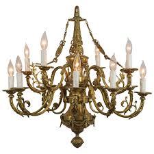 louie xvi style cast bronze 12 light chandelier for