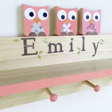 Nursery Coat Rack Coral Pink Owl Clothing Rack And Shelf Wall Coat Rack Wall Shelf 75