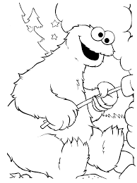 Cookie Monster Toasting Marshmallows Coloring Pages Coloring