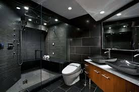 black bedroom. Bathroom:Modern Black Bedroom Decor With Rectangle Vanity Sink And Ceramic Wall Also