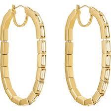 Fluid Hoop Pierced Earrings, Brown, Gold-<b>tone</b> plated   Swarovski.com