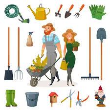 gardening cartoon icon set 473592