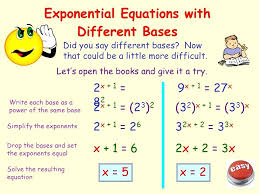 solving exponential equations with diffe bases math