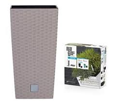 office planter. Image Is Loading Large-RATTAN-Tall-Planter-Square-Plastic-Garden-Indoor- Office Planter