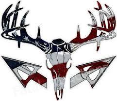 American Flag Deer Skull S4 Arrow Vinyl Sticker Decal buck bow ...
