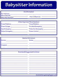 babysitter information sheet printable id rather be organizing 52 weeks of printables week 19
