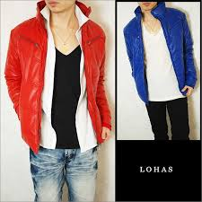 free batting pu leather jackets men s blue red red blue neck outerwear jacket synthetic leather batting zip evil evil luo