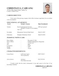 Applicant Resume Sample Filipino Perfect Philippine Format 21 For