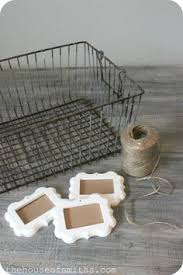 Decorative Wire Tray Wire Basket Storage with Decorative Frame Labels An Office Update 6
