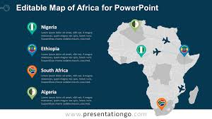 free editable maps africa editable powerpoint map presentationgo com